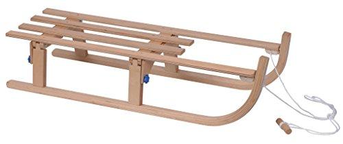 Davos slittino in legno, 110cm, pieghevole, corda di traino dello slittino inclusa
