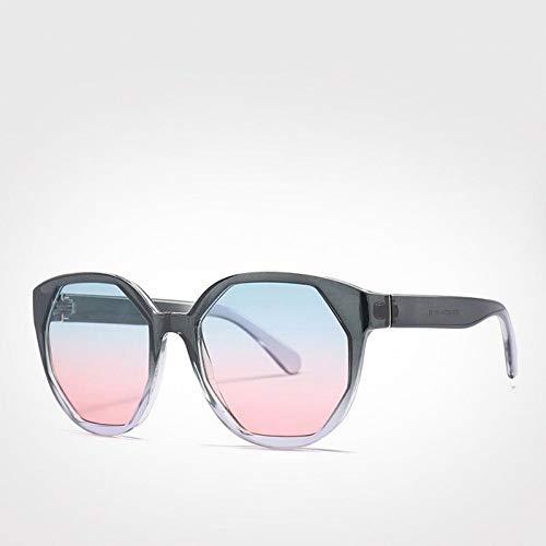 TIANKON Polygonal Lens Gradient Frame Damen Sonnenbrille New Blue Pink Square Herren Sonnenbrille Big Goggle Uv400,Blau-Rosa Sonnenbrilled