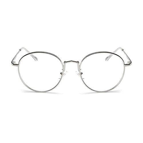 [Garantie à vie] Lunettes anti-lumière bleue ronde de repos anti-fatigue style retro vintage argent munies de lentilles transparentes SCT