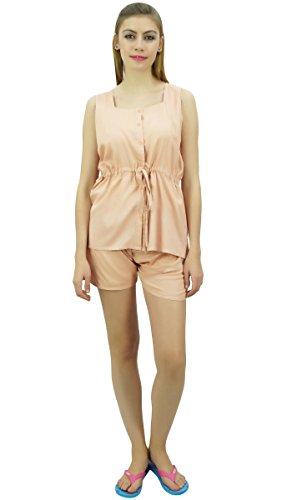 Bimba Donna Coulisse Solid Pj Set Bottone giù Shirt VestitoPantaloncini Peach Luce