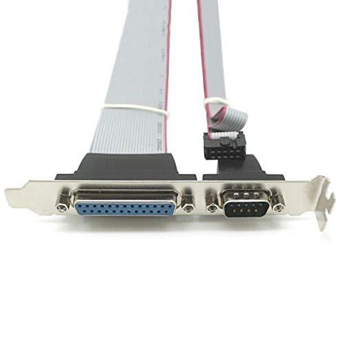 Zerama Serielle DB9 Pin COM mit Parallel DB25 Pin LPT-Kabel mit PCI-Slot-Header Bracket -