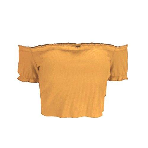 Oyedens Chemise Femme Chic Bretelles hors Épaule Court Tops Blouse Soiree Pull Femme Blouse Femme Vetement Femme Pas Cher Fashion Chemisier Femme Printemps Eté Top Sweat T-Shirt Haut Fille Jaune