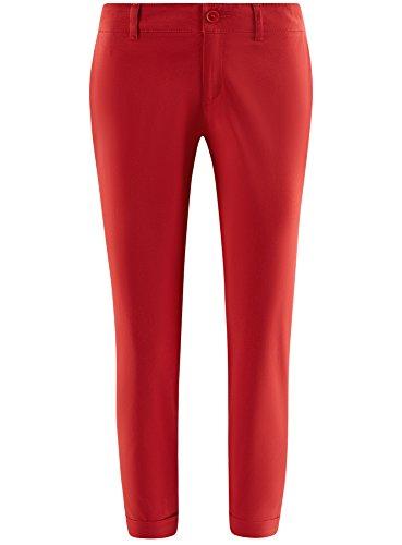 oodji Ultra Damen Chinohose aus Baumwolle Rot (4500N)