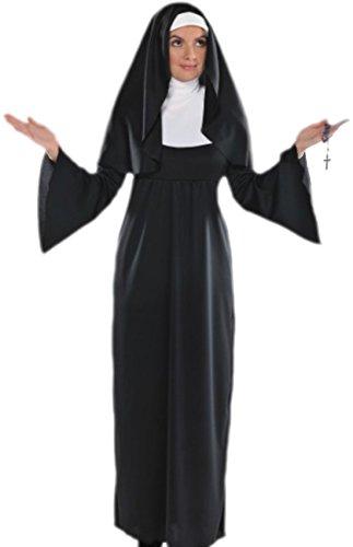 nnen Kostüm Holy Sister Kleid mit Kragen und Kopfbedeckung, M, Schwarz Weiß (Nonne Kostüm Für Mädchen)