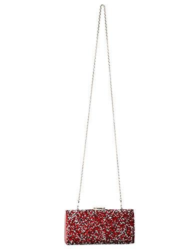 BYD Damen Elegante Prom Brautparty Abend Sequin Clutch Frauen Tasche Handtasche Modische glitzernde künstliche Strassstein drauf geschmückt Rote