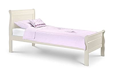 Happy Beds Amelia Sleigh Bed Wooden Stone White Finish Classic Design Bedroom