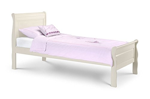 Happy Beds Amelia Sleigh Bed Wooden Stone White Classic Frame 3' Single 90 x 190 cm