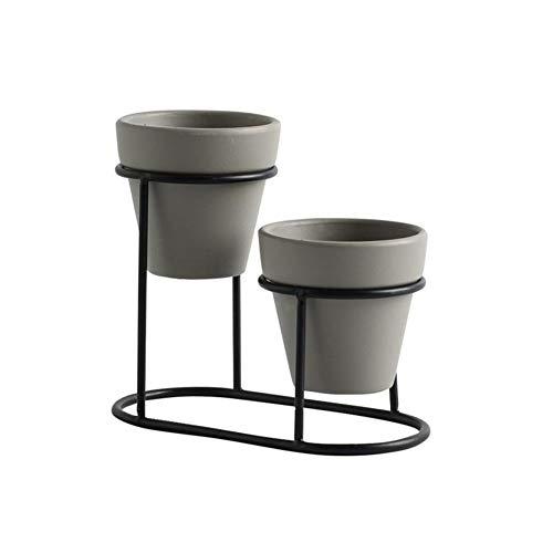 kapokilly Keramik Blumentopf, Schmiedeeisen Fleischigen Blumentopf Blume Dekorative Topf Container Box, 1 × Eisengestell + 2 × Keramik Blumentopf