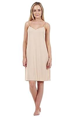 Ladies 2 Pack Anti Cling Full Slip Black Long Petticoat White Chemise Beige