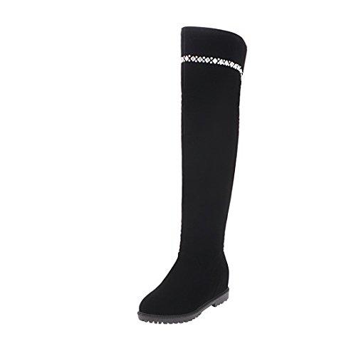 UH Damen Winter Keilabsatz Overknee Stiefel gefüttert mit Strass Bequeme Warm Lang Boots (Lange Stiefel)