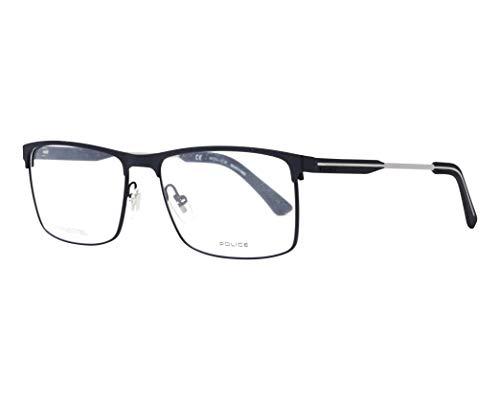 Police Brille Edge Evo 2 (VPL-798 01HM) Metall - Acetate-Kautschuk matt schwarz - matt silber (Police Brille Silber Und Schwarz)