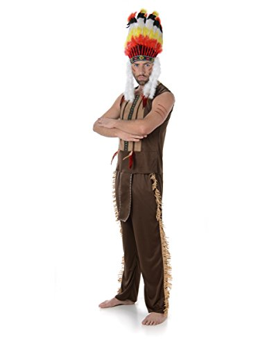 Indian Chief Mens Fancy Dress Red Native American National Adults Costume Outfit