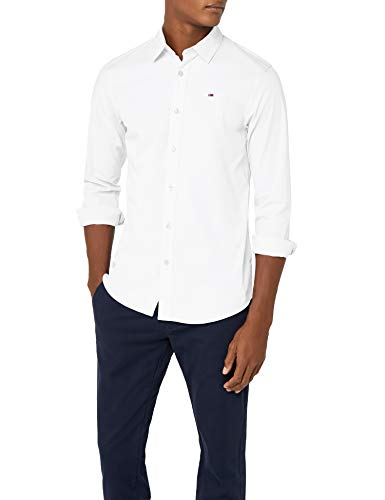 Tommy Jeans Herren Original Stretch  Langarm Slim Fit Freizeithemd Weiß (Classic White 100) Medium