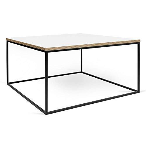 TemaHome Table Basse carrée Gleam 50 Plateau Blanc Mat Structure laquée Noir Mat