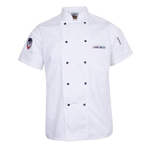 F Fityle Kurzarm Kochjacke Bäckerjacke Kochkleidung Chef Jaket Koch Arbeitskleidung Gastronomie Restaurant Berufsbekleidung - Weiß, 2XL - Küchenchef Mantel