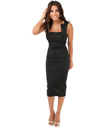 KRISP Damen Stretch Kleid Etuikleid _(6872-BLK-08)