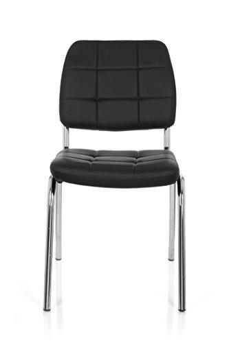 hjh OFFICE 706800 Besucherstuhl PICENO V Kunst-Leder Schwarz Konferenz-Stuhl Vierfußstuhl Rücken-Lehne Warte-Zimmer Büro