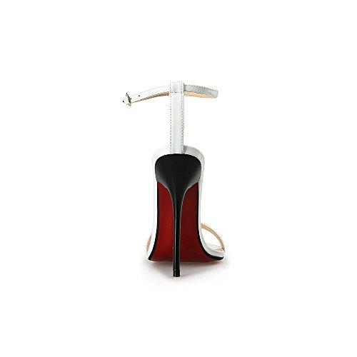 Damen Sandalen Knöchelriemchen Schnalle Stiletto High Heels Absatz-13cm Weiß