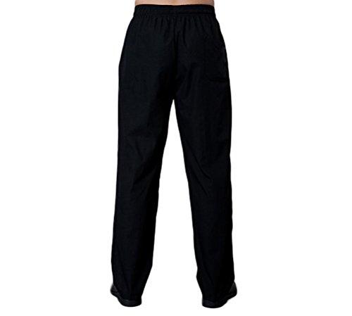 Nanxson Unisex Herren Damen Arbeitshose Kochhose Hotel Hose mit elastischer Taille CFM2008- (Schwarz, Taille: 67-90 cm) - 3