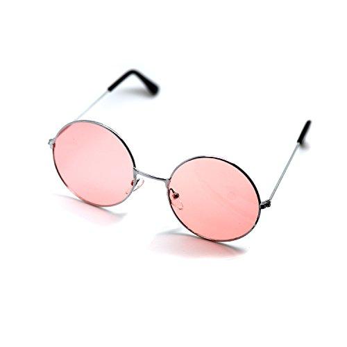 Ultra® Silver Frame con rosa lenti adulti Retro occhiali da sole completo specchio lente John Lennon stile tondo vecchio vintage look qualità UV400 occhiali da sole per uomini donne