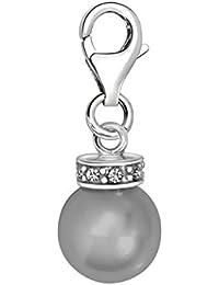 Quiges Charm Anhänger Kunstperle mit Zirkonia 925 Silber mit Karabinerverschluss für Bettelarmband