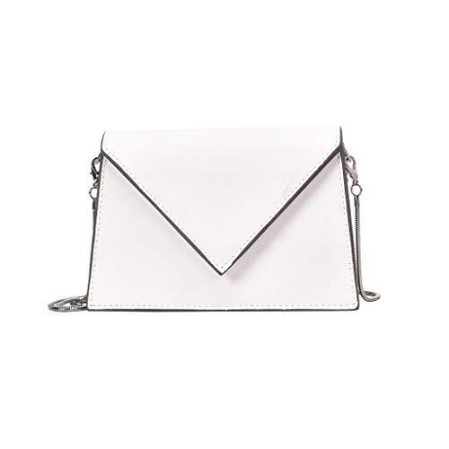 Tohole Frauen Kleine Crossbody GeldböRse FüR Leder UmhäNgetasche Handtasche Telefon MäDchen Schultertasche Kette Clutch Mini Vintage Handbag(weiß)