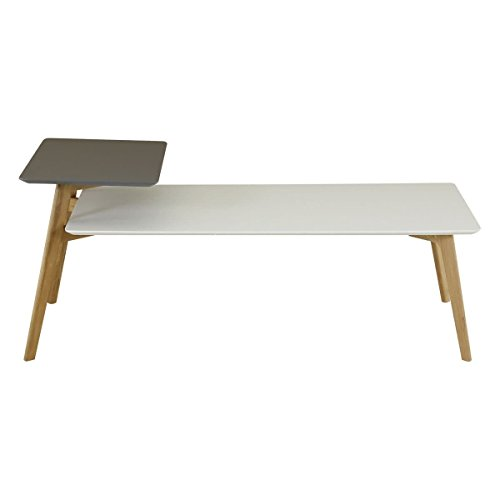 Id'Click Table Basse 130 cm Double Plateaux Gris et Blanc Scandie