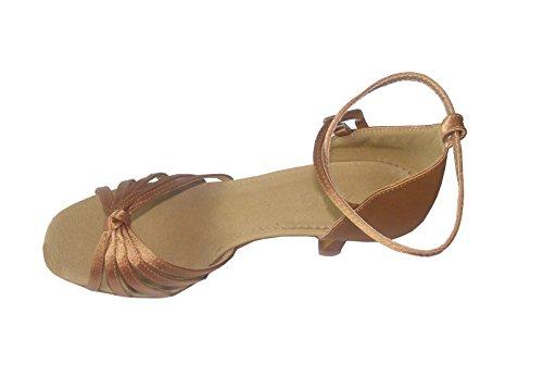 Colorfulworldstore chaussures de danse latine pour dame en satin avec cinq lanières nouées, couleur rouge classique/bronze/peau/beige/léopard Bronze