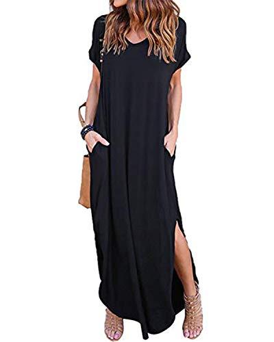 VONDA Damen V-Ausschnitt Kurzarm Strand Sommerkleid langes Abendkleid mit Tasche Black S - Lange Ärmel, Eine Tasche