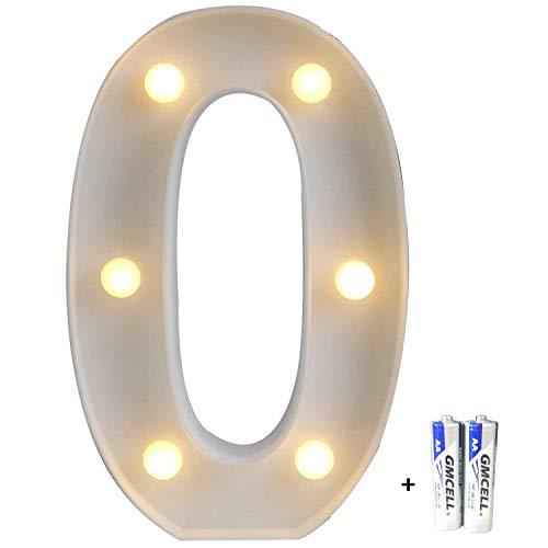 r Alphabet, LED Brief Licht(Einschließlich batterie), Nachtlichter Weihnachten Lichterkette, Dekorationen für Geburtstag Party Hochzeit - Nummer 0 ()