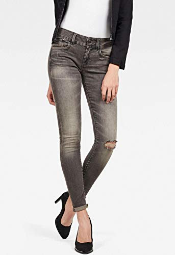 G-STAR RAW Damen Lynn Mid Waist Skinny' Jeans, Grau (medium Aged Ripped A634-4865), 32W / 28L Womens Classic Blue Jeans
