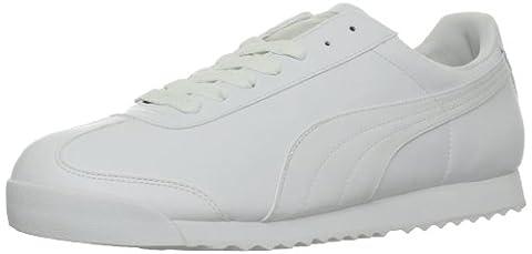 PUMA Men's Roma Basic Leather Sneaker,White/Light Gray,10 D