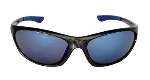 Foster Grant SPVL14926 FITNESS RV VL FG117 Unisex Wrap-Stil, Full-Frame-Sport-Sonnenbrille Schwarz Kunststoff-Rahmen & Arme Blue Mirror UV400-Objektive 100% UV-Schutz CAT 2
