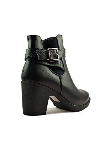 Bottines à Talon Carré et Sangle Noir Noir