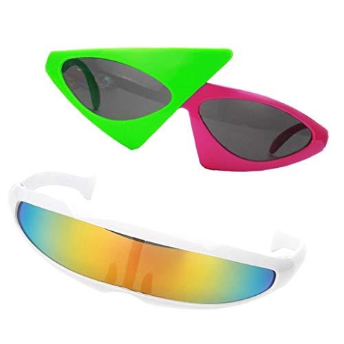 Fenteer 2er Set Partybrille Roy Purdy + Futuristische Sonnenbrile Cosplay Kostüm - Futuristisches Kostüm Zubehör