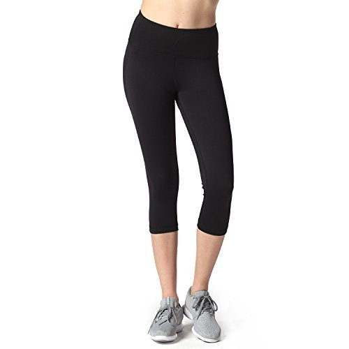 Lapasa Damen 3/4 Sport Leggings – blickdicht, dehnbar und luftig, 3/4 Yoga Sporthose, Damen kurz Training Tights, L002, Schwarz, M