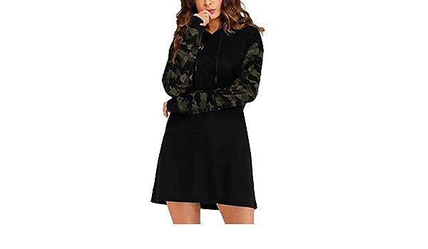 SUNNYME Femme Sweat-Shirts Robe /à Capuche Manches Longues Casual Tunique Printemps Pull