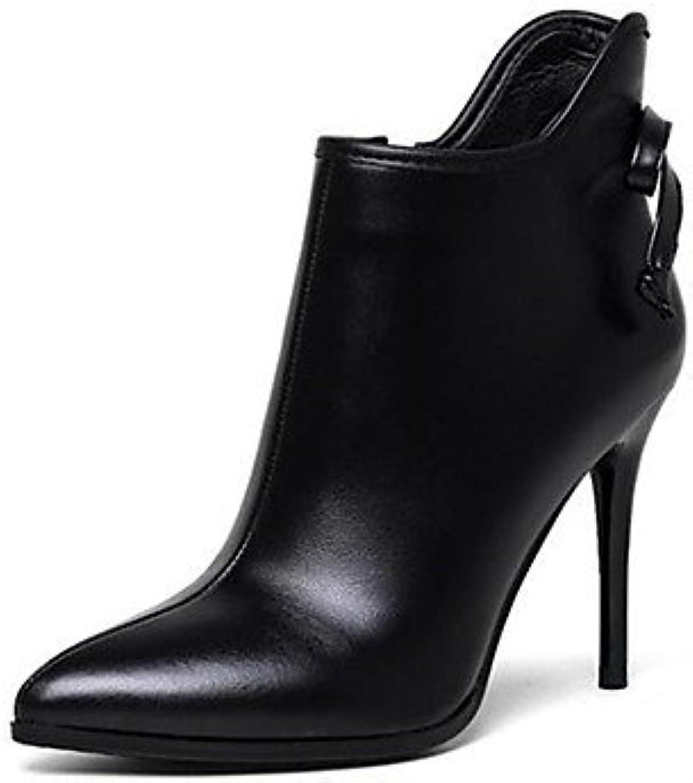 desy de mujer zapatillas Piel Otoño Invierno ergonómico Botas a Stiletto afiladas para Casual negro, us6.5-7 /...