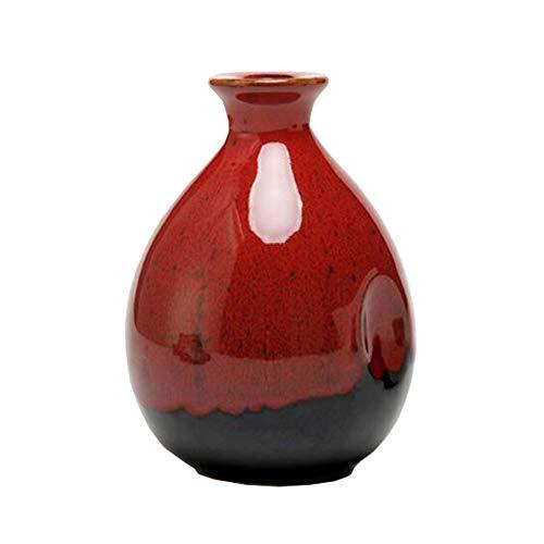 Mini chinesische Keramik Blumenvase Bud Vase Weinflasche, ideales Geschenk für Home Office, Dekor, Tischvasen, Bücherregal Ornamente Flaschen, Zinnober Rot