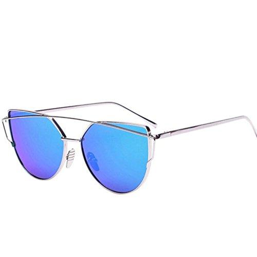 Ularma Damen Twin-Träger Vintage Classic Metallrahmen Sonnenbrille Katzenaugen Brille Reflektierenden Spiegel (Blue(Silber))
