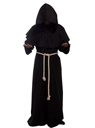 (Mönch Robe Prister Gewand Kostüm Medieval Hooded Monk Costume Fancy Dress Priest Robe)