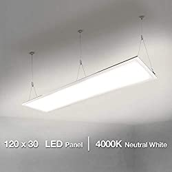 LE 40W LED Panel 4000lm 80W Fluorescent Equivalent Neutral White 4000K 295 * 1195 * 9mm Slim Ceiling Light for Home and Office