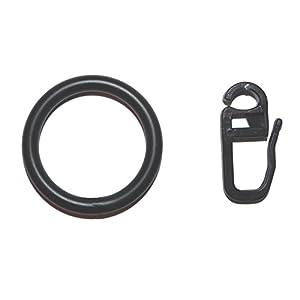 10 Gardinenringe Metall schwarz für Vorhangstangen mit 16 oder 20 mm Durchmesser