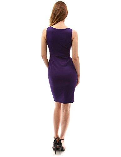 PattyBoutik femmes robe fourreau taille empire sans manches à col V. Violet