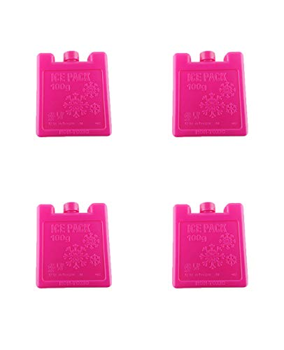 Eisblöcke (4er Set) Kühlakkus für Lunch-Boxen Kühler Kühlakkus Langlebig Lunch Ice Packs Slim Wiederverwendbare Kühlpacks für Kühler Gefrierschrank Ice Packs stapelbar quadratisches Design blau grün rosa gelb, rose, Größe S