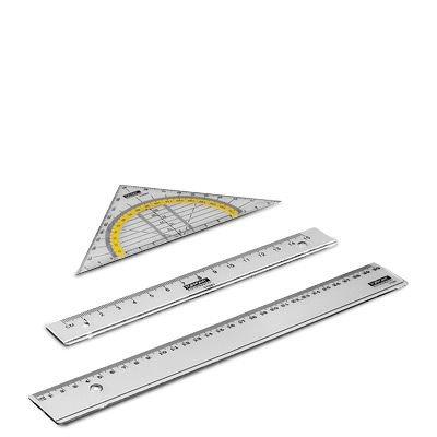 Zeichengarnitur 3tlg. Geo Dreieck Lineal 15cm & 30cm