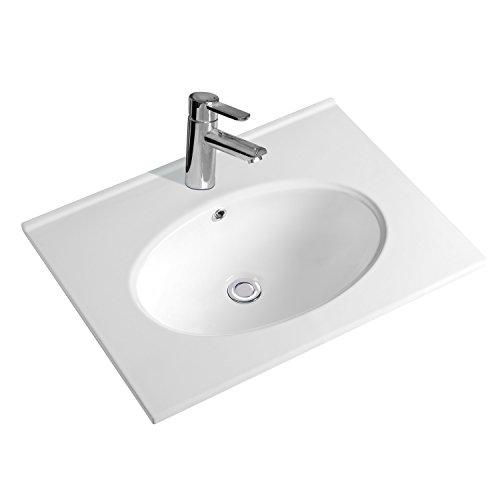 NEG Waschbecken Uno59E (Breite 60cm) Einbau-/Aufsatz-Waschschale/Waschtisch mit breitem Rand und Nano-Beschichtung