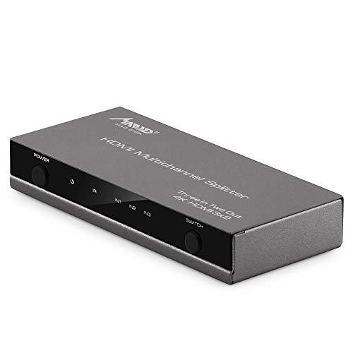 HDMI Switch,MAD GIGA HD Verteiler 3D 4K HDMI Umschalter Wireless IR Fernbedienung Umschaltung 3 IN 2 Out für Projektor, Laptop, DVD, HD TV, PS3/PS4 usw