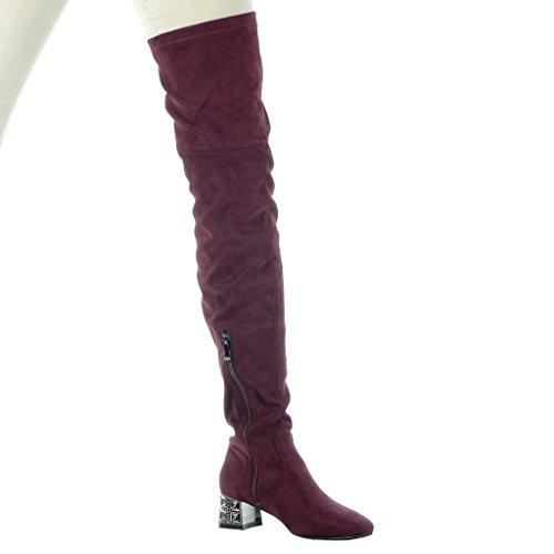 Angkorly - Scarpe da Moda Stivali Alti stivali alti flessibile donna gioielli Tacco a blocco tacco alto 4.5 CM Bordo