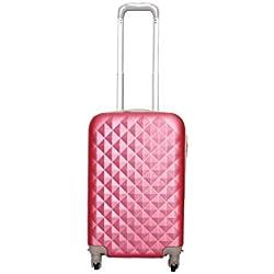 Maleta pequeña para cabina rígida 4 ruedas 360º gira equipaje de mano Low cost (Rosa)